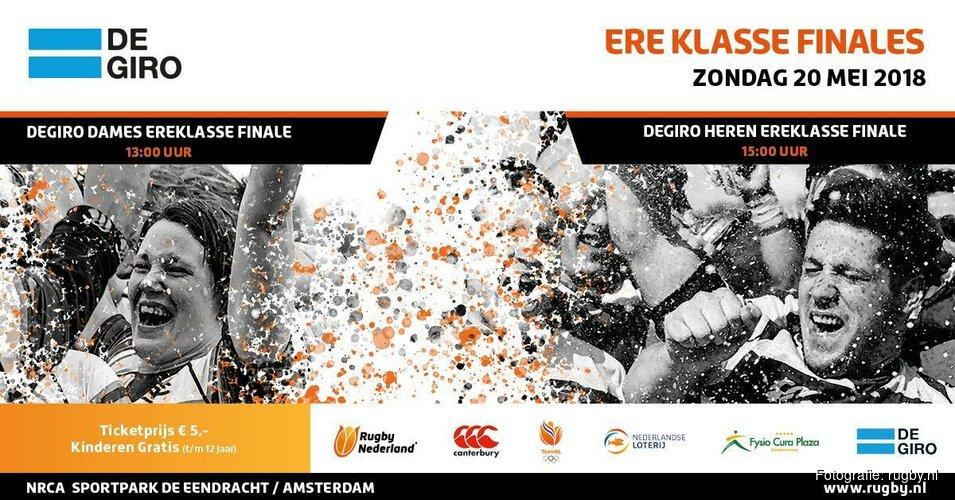 Zondag 20 mei finales Degiro Ereklasse rugby