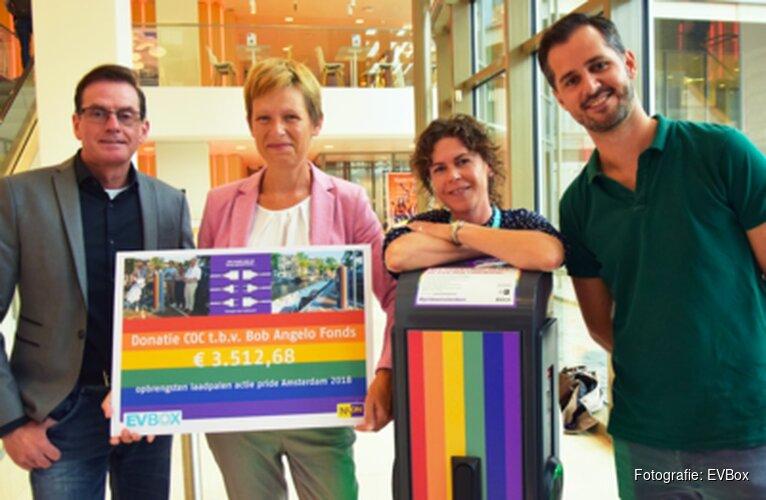 Regenboog laadpalen tijdens Amsterdam Pride brengen ruim €3500 op voor het COC