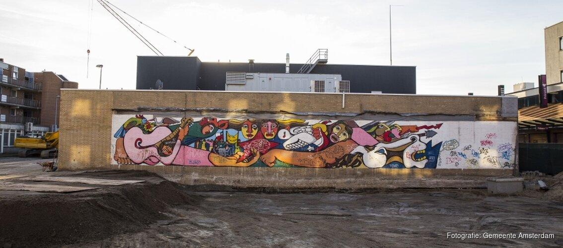 Muurschildering ontdekt op het Osdorpplein