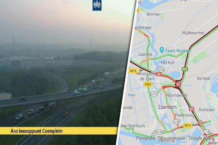 Chaos in de spits: files op A7, A8 en A9 vanwege ongeluk in Coentunnel