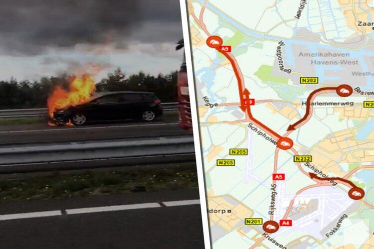 Hectisch begin van avondspits: ongeluk, autobrand en dichte spitsstroken