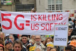 Demonstratie tegen 5G op de Dam