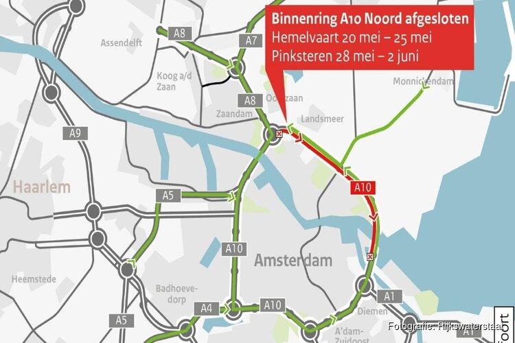 A10 Noord vanaf vandaag een aantal dagen dicht voor groot onderhoud