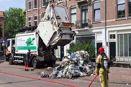 Afval op straat gegooid bij brandje in vuilniswagen op de Brederodestraat