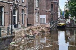 Kademuur ingestort in Amsterdam