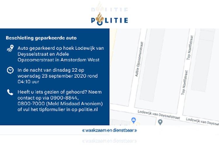 Beschoten auto Lodewijk van Deysselstraat: politie zoekt getuigen